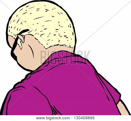 Short Haired Blond Man Looking Down