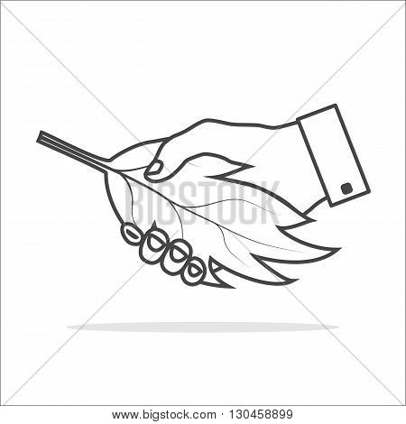 Ecology handshake icon thin gray outline with white fill. Handshake between human and nature. Hand and leaf. Hand gesture used as a greeting with nature.