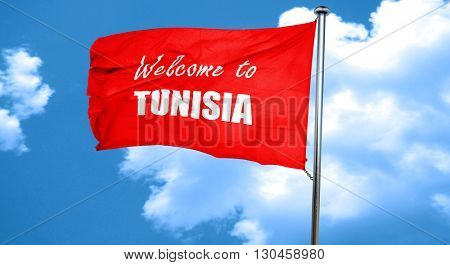 Welcome to tunisia, 3D rendering, a red waving flag