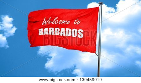Welcome to barbados, 3D rendering, a red waving flag