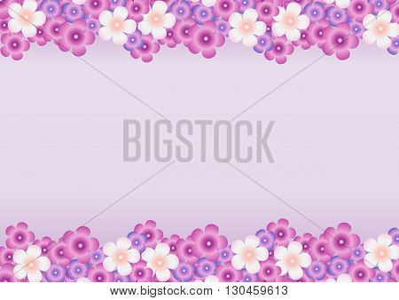 Vector bright background with a pattern of lilac, purple, white flowers of lilac horizontally at the top and bottom.