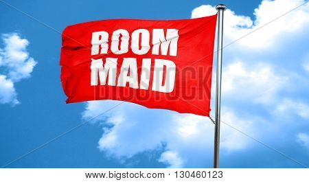 room maid, 3D rendering, a red waving flag