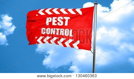 Pest control background, 3D rendering, a red waving flag