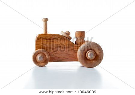 Wooden Tractor Over White