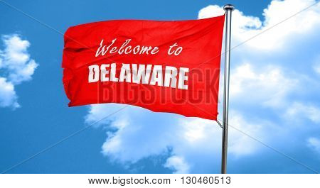 Welcome to delaware, 3D rendering, a red waving flag