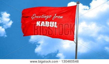 Greetings from kabul, 3D rendering, a red waving flag