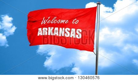 Welcome to arkansas, 3D rendering, a red waving flag