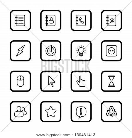 black line web icon set for with rounded rectangle frame web design user interface (UI) infographic and mobile application (apps)