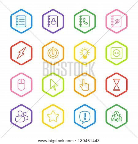 colorful line web icon set with hexagon frame for web design user interface (UI) infographic and mobile application (apps)