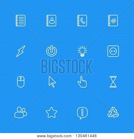 white line web icon set for web design user interface (UI) infographic and mobile application (apps)