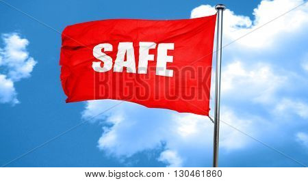 safe, 3D rendering, a red waving flag