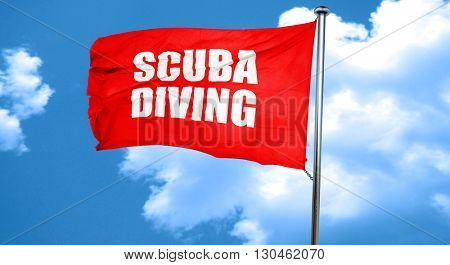 scuba diving, 3D rendering, a red waving flag