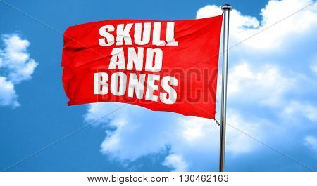 skull and bones, 3D rendering, a red waving flag