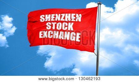 shenzhen stock exchange, 3D rendering, a red waving flag