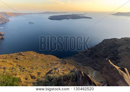 Amazing sunset panorama to Santorini island, Thira, Cyclades, Greece
