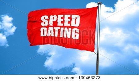 speed dating, 3D rendering, a red waving flag