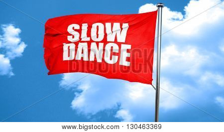 slow dance, 3D rendering, a red waving flag