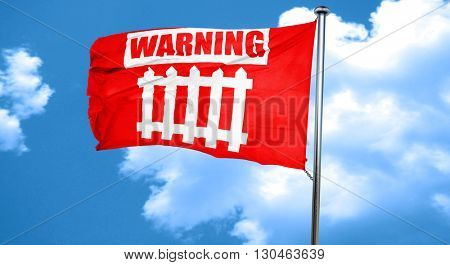 Railway warning sign, 3D rendering, a red waving flag