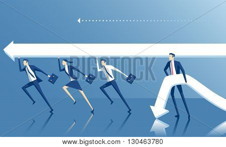 Business concept teamwork and cooperation vector illustration of business people who work together and are ahead of those who work alone
