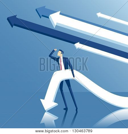 Business concept ambitions volition and purpose vector illustration of standing businessman looking into the distance with arrows or pointers on blue background