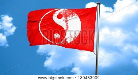 Ying yang symbol, 3D rendering, a red waving flag