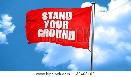 stand your ground, 3D rendering, a red waving flag