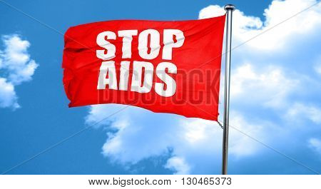 stop aids, 3D rendering, a red waving flag