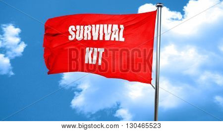 Survival kit sign, 3D rendering, a red waving flag