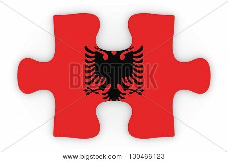 Albanian Flag Puzzle Piece Top Down Orthographic 3D Illustration