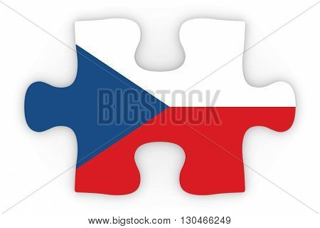 Czech Flag Puzzle Piece Top Down Orthographic 3D Illustration