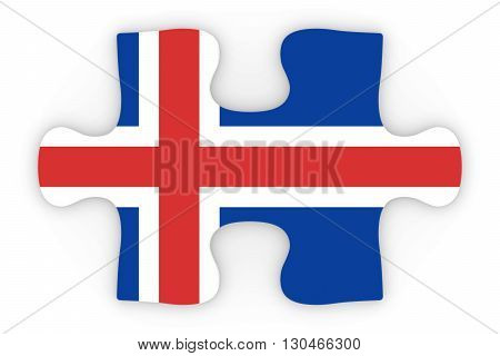 Icelandic Flag Puzzle Piece Top Down Orthographic 3D Illustration