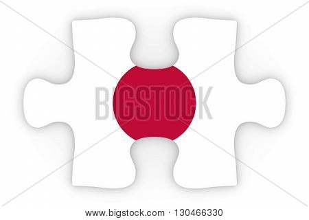 Japanese Flag Puzzle Piece Top Down Orthographic 3D Illustration