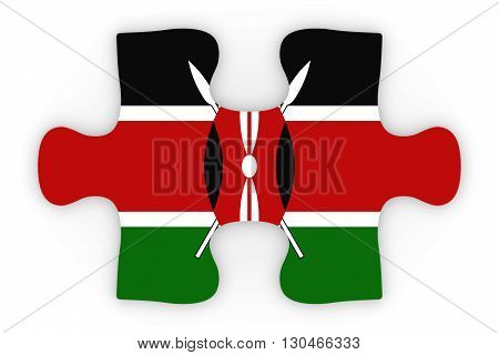 Kenyan Flag Puzzle Piece Top Down Orthographic 3D Illustration