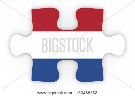 Dutch Flag Puzzle Piece Top Down Orthographic 3D Illustration