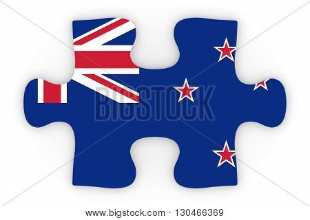 New Zealand Flag Puzzle Piece Top Down Orthographic 3D Illustration