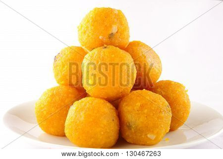 Indian Traditional Diwali sweets called Motichoor Ladoo in plate