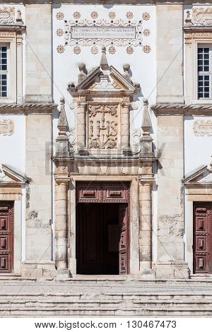 Portal of the Mannerist Santarem See Cathedral aka Nossa Senhora da Conceicao Church. Portugal