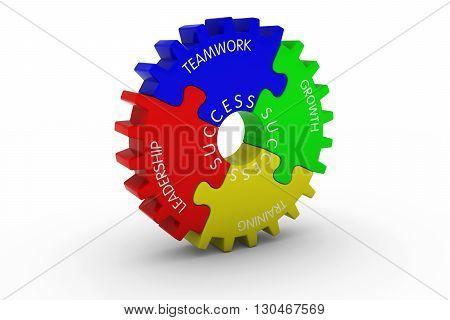 Teamwork + Growth + Training + Leadership = Success Multicoloured Jigsaw Puzzle Cog Wheel - 3D Illustration