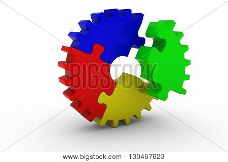 Multicoloured Jigsaw Puzzle Cog Wheel with Offset Red Piece - 3D Illustration