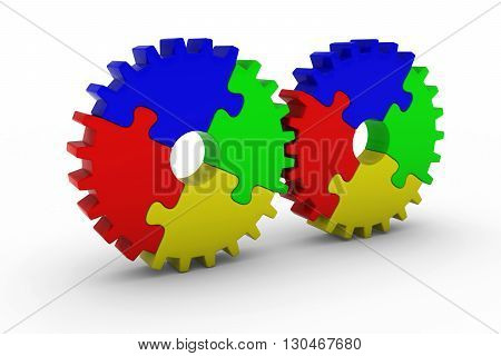 Multicoloured Jigsaw Puzzle Cog Wheels - 3D Illustration