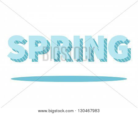 Spring lettering with drop shadow. Graphic element for your design. Isolated on white background