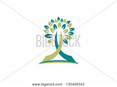 tree nature logo, religious tree concept symbol concept icon vector design.