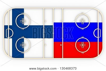 Finland vs Russia. Ice hockey competition 2016. National flags on playground. 3D rendering