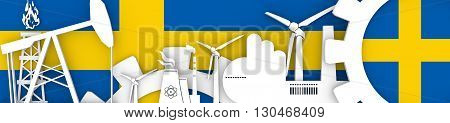 Energy and Power icons set. Header banner with Sweden flag. Sustainable energy generation and heavy industry. 3D rendering