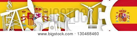Energy and Power icons set. Header banner with Spain flag. Sustainable energy generation and heavy industry. 3D rendering