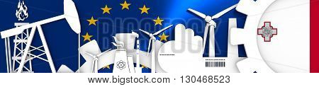 Energy and Power icons set. Header banner with Malta flag. Sustainable energy generation and heavy industry.European Union flag backdrop. 3D rendering