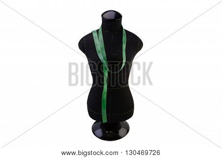 macro dummy black color for sewing clothes tailoring meter sartorial meter to the neck. isolate on white background