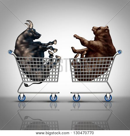 Stock market shopping and trading decision financial concept as a bear and a bull inside a shop cart as an investing and investment dilemma symbol with 3D illustration elements.