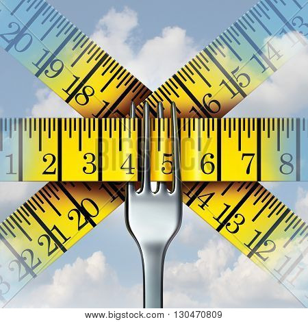 Fork measuring tape nutrition and diet lifestyle concept as a metaphor for calorie monitoring and human fitness icon with 3D illustration elements.