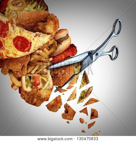 Cutting calories concept as a pair of scissors cutting through a group of greasy high cholesterol junk food as a slimming and trimming the fat solution symbol with 3D illustration elements.